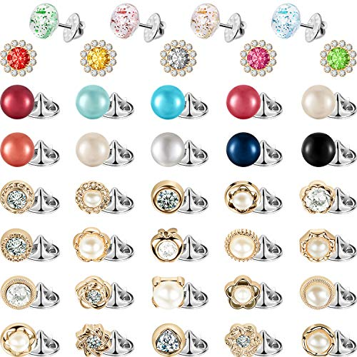 WILLBOND 50 Pieces Women Shirt Brooch Buttons Cover up Button Pin Safety Brooch Buttons for Clothing Dress Supplies