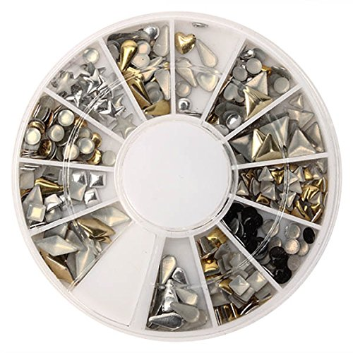 Bluelover 6 Styles Mix Forme Or Argent Alliage Stud Nail Art Décoration Roue