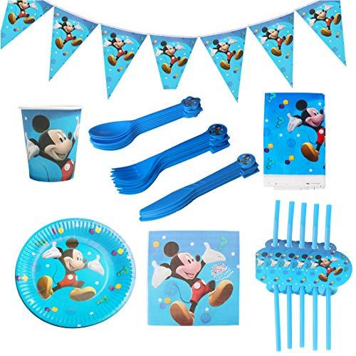 REYOK Set di Articoli per Feste Mickey Mouse e Set di stoviglie 82pezzi per 10 Persone, Kit di Decorazioni di Compleanno per Ragazze - Zigoli di Compleanno, Piatti, Tazze, tovaglioli, cannucce