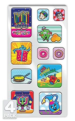 Izzy 'n' Dizzy Hanukkah Stickers Embossed 3D- Sheet of Puffy Chanukah Stickers - Holiday Stickers - 11 Fun Hanukkah Designs - 4 Pack