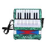 Wandisy 【𝐂𝐡𝐫𝐢𝐬𝐭𝐦𝐚𝐬 𝐆𝐢𝐟𝐭】 Acordeón Infantil, 17 acordeón de Piano bajo de 8 Teclas Instrumento Musical para Estudiantes Principiantes(Verde)