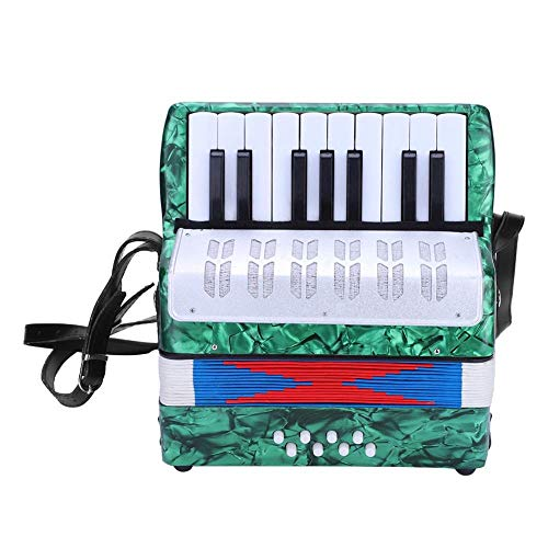 Focket Piano Accordion, 17 Key 8 Bass Hand Acordeón Ligero Concertina Instrumento de Música Educativo con Manual, Principiantes Solistas y Conjuntos Niños Kid(Verde)