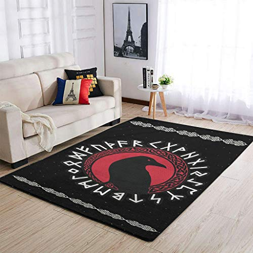STELULI VIKING Ravens In Area Alfombra ultrasuave y lavable, para decoración del hogar, color blanco, 50 x 80 cm
