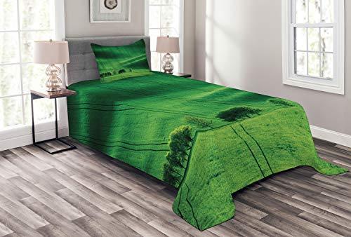ABAKUHAUS Fern Green Tagesdecke Set, Wiese Felder Hills, Set mit Kissenbezügen Sommerdecke, für Einselbetten 170 x 220 cm, Smaragdgrün