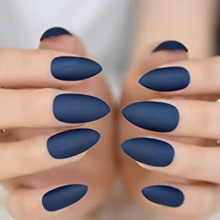 MISUD Stiletto False Nails 24 Pcs Blue Matte Oval Sharp Shape Press-on Wearable Reusable Fake Nails Tips - Blue Enchantress