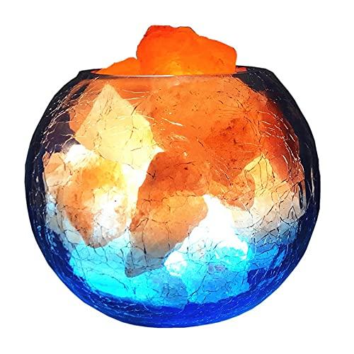 XLEVE Lámpara de Sal de Cristal Hielo y Fuego lámpara Sal de Fuego Natural Himalayan dimmable Noche luz Dormitorio decoración de Noche lámpara Dormir