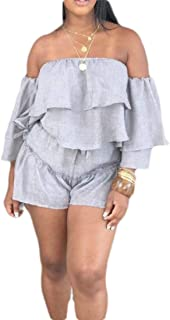 FSSE Womens Casual Off Shoulder Solid Color Ruffle T-Shirt & Shorts Outfits 2 Pieces Set