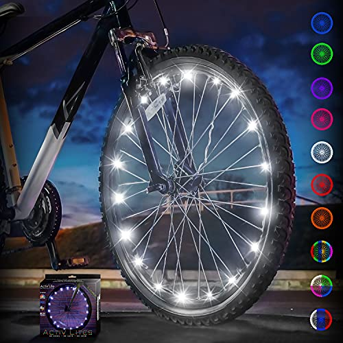 Activ Life Bike Light for Wheels (1 Tire, White) Hot Gifts for Boys, Girls & Fun Gift Ideas for Him and Her - Popular Bicycle Decorations for Safety & Style - Bright LED Bulbs for Cool Night Rides
