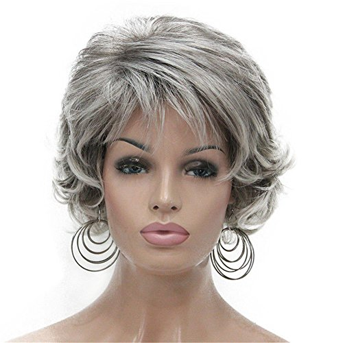 Aimole Short Curly Synthetic Wigs Full Capless Hair Women's Thick Wig for Everyday Grey 48T