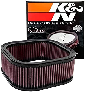 K&N Motorcycle Air Filter: High Flow Performance Air Filter Fits 2002 - 2017 Harley Davidson V-Rod, Night Rod, Muscle, Street Rod Washable & Reusable OEM # Replacement 2943701 Air Filter HD-1102
