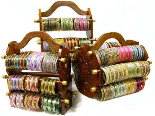 Hot Sale Beachcombers! Ethnic Indian Glass Bangle Bracelet Of The Month Club With Bangle Stand & Bonus