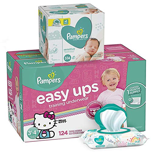 Pampers Bundle - Easy Ups Training Underwear Pull On Disposable Diapers for Girls, Size 5 (3T-4T), 124 Count, ONE MONTH SUPPLY with Baby Wipes Sensitive 6X Pop-Top Packs, 336 Count