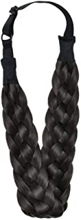 Winopey 5 Strands Synthetic Hair Braided Headband Hairpiece Classic Chunky Wide Plaited Braids ElasticMulti-Color Headband Ladies Beauty Headwear(Brownish black)