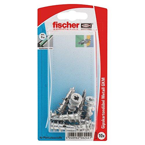 fischer 504330 Gipskartondübel Metall K SB-Karte, Inhalt: 10 x Gipskarton-/Gibsfaserplattendübel GKM