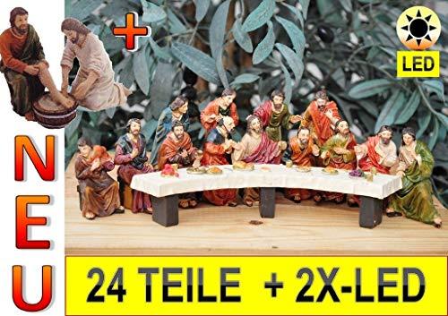 ÖLBAUM Weihnachts-Krippenfiguren-Zubehörset: Weihnachtskrippe & Osterkrippe,Abendmahl KOMPLETT mit Fußwaschung durch Jesus, MIT LED-Beleuchtung, Premium großes 24-TLG. Figuren-Set, das letzte Abendma