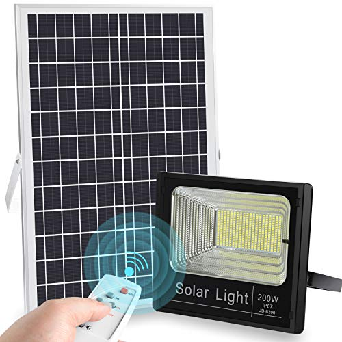 LEDMO 200W LED Solar Flood Light 400LED Dusk to Dawn Solar Powered Street Light Outdoor Waterproof IP67 with Remote Control Solar Chargeable Flood for Backyard|Garage|Driveway|Basketball Court