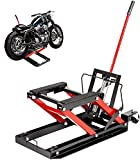 VEVOR Hydraulic Motorcycle Scissor Jack with 1,700LBS Load Capacity, Portable Motorcycle Lift Table, Adjustable Motorcycle Lift Jack, Motorcycle Lift Stand Must-Have in Garage (1700lbs, Black and Red)