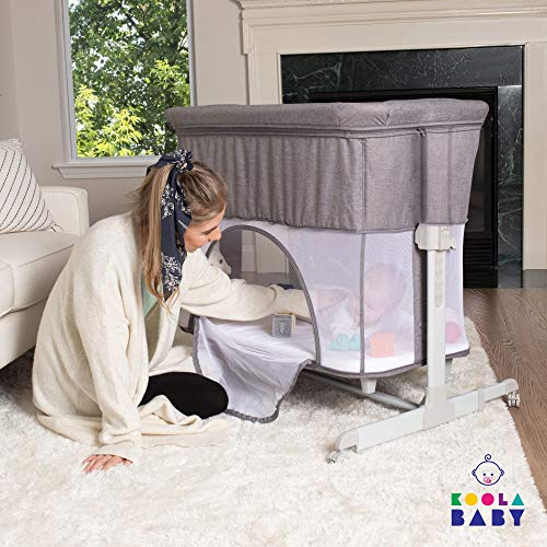 3 in 1 Baby Bassinet- Transform to Playpen, Bedside Sleeper for Baby, Easy Folding Portable Crib (Grey)- KoolaBaby