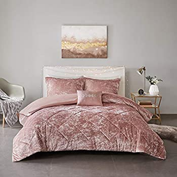 Intelligent Design Felicia Duvet Set Velvet Double Sided Diamond Quilting Modern Glam All Season Comforter Cover Bedding Set with Matching Sham Decorative Pillow Full/Queen 88 x90   Blush 4 Piece