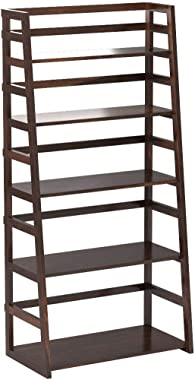Simpli Home Acadian SOLID WOOD 63 inch x 30 inch Rustic Ladder Shelf Bookcase, Bookshelf in Tobacco Brown with 5 Shelves, for