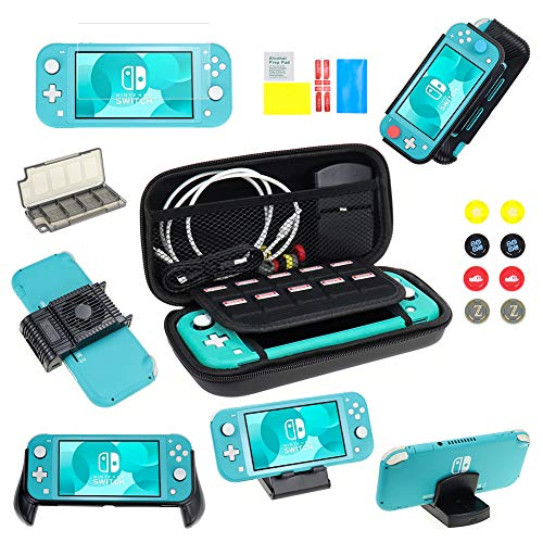 Switch Lite Accessories Bundle,EAGLEFLY 9 in 1,Case & Screen Protector , Stand,Game Card Case,Charging Dock,Games Holder, Grip Case, Cooling Fan,Thumb-Grip