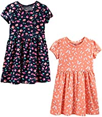 Simple Joys by Carter's Girls' Toddler 2-Pack Short-Sleeve and Sleeveless Dress Sets, Floral/Butterfly, 5T