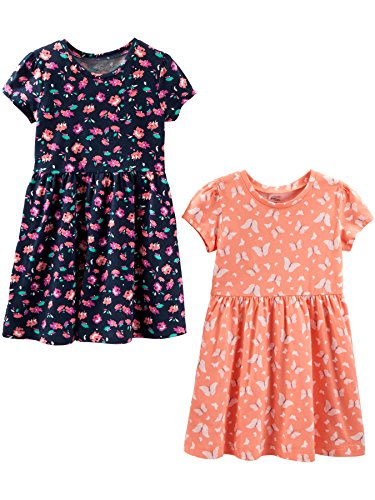 Simple Joys by Carter's Girls' Toddler 2-Pack Short-Sleeve and Sleeveless Dress Sets, Floral/Butterfly, 4T