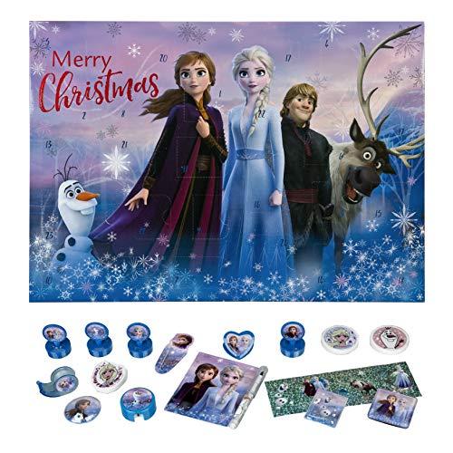 Undercover FRUW8023, Anna, ELSA, Olaf, Kristoff, Sven, Adventskalender für Mädchen mit 24 Schreibwaren Überraschungen, Zauberhaftes Disney Frozen Motiv, ca. 45 x 32 x 3 cm, bunt