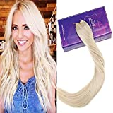 LaaVoo 12Zoll Platinblond Haarverlangerung mit Unsichtbaren Band 80GR Secret Wire