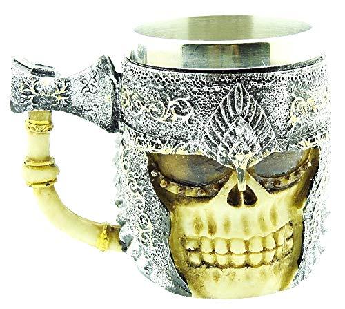 Tazza Teschio - Cranio con elmo - ossa - Ascia - 3d - Scheletro - Resina - Acciaio inox - Boccale birra - Idea regalo originale - Gotico - Maschio - Bevande - Vichinga - Guerriero - Medievale