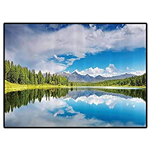 Lakehouse Decor Collection Play Mats Lake and Reflection Scene at The Skirts of Altai Mountain Covered with Spring Forest Picture Carpet for Bedroom, Kids Baby Room, Nursery Rug 6×9 Feet