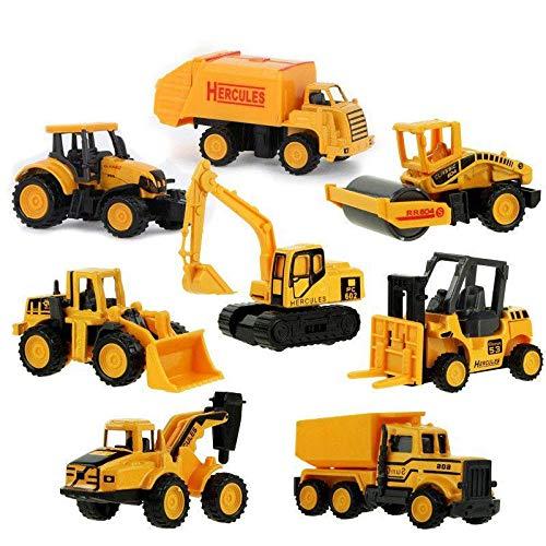 M-PENG Mini Engineering Baufahrzeuge Autos Spielzeug LKW, Bagger, Zement LKW, Dumper, Bulldozer, Gabelstapler, Straßenwalze für Kinder ab 3 Jahren