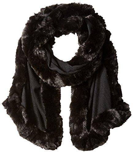 BADGLEY MISCHKA Women's Knit Wrap with Faux Chinchilla Trim, Black, One Size