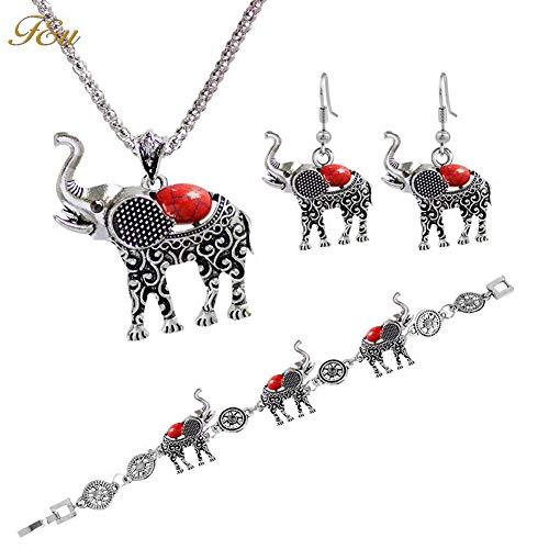 YAZILIND Fashion Necklace Earrings Bracelet Metal Bohemia Elegant Women Jewelry Set Elephant Pendant Necklace Earrings Bracelet Red