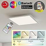 Briloner Leuchten Panneau LED dimmable encastrable en blanc – Change de couleur et de température de couleur – Contrôlable par télécommande, app smartphone & connexion bluetooth – RGB, 18W