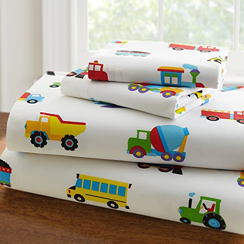 Linen Plus Sheet Set for Boys /Teens Trucks Cars Tractors Police Care Airplane Balloons White Yellow Red Green Blue Flat Sheet and Fitted Sheet and Pillow Case Twin New