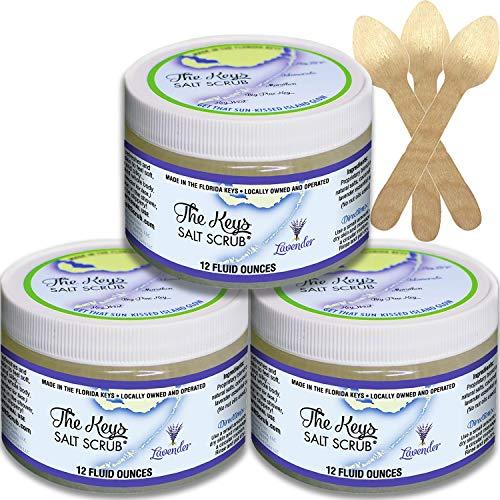 The Keys Salt Scrub : Premium Exfoliating Sea Salt Body Skin Scrubs (Lavender, Bulk 3 Pack 12 oz)