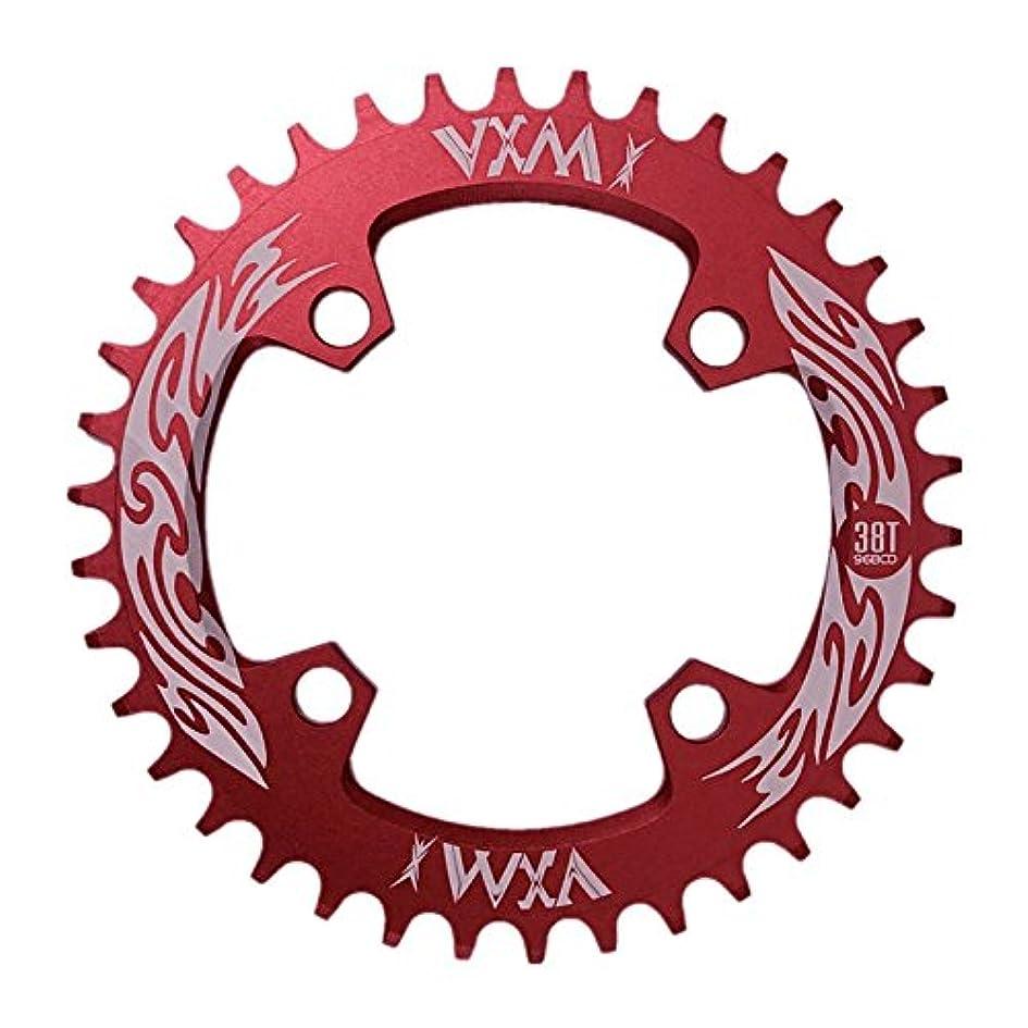 スラダム無条件Propenary - Bicycle Crank & Chainwheel 96BCD 38T Ultralight Alloy Bike Bicycle Narrow Wide Chainring Round Chainwheel Cycle Crankset [ Red ]