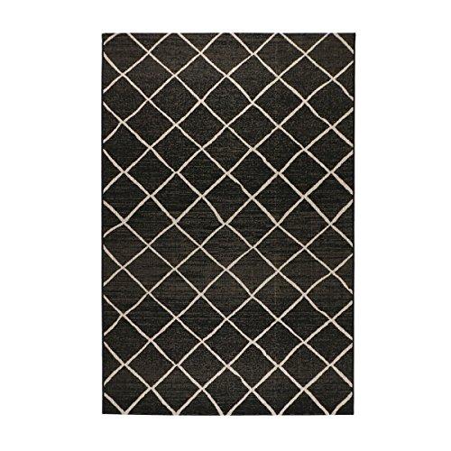 havatex Sisal-Look Flachgewebe Teppich Lux Dia - Schwarz oder Silber - robuste Kunstfaser Sisal-Optik | pflegeleicht, strapazierfähig | Wohnzimmer Schlafzimmer, Farbe:Schwarz/Grau, Größe:160 x 230 cm