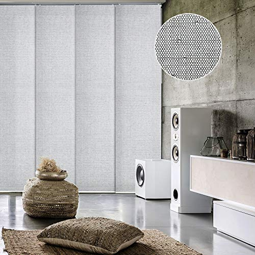 "GoDear Design Deluxe Adjustable Sliding Panel Track Blind 45.8""- 86"" W x 96"" H, Extendable 4-Rail Track, Trimmable Natural Woven Fabric with Shimmering Cup Sequins, Light Filtering, Diamond Silver"