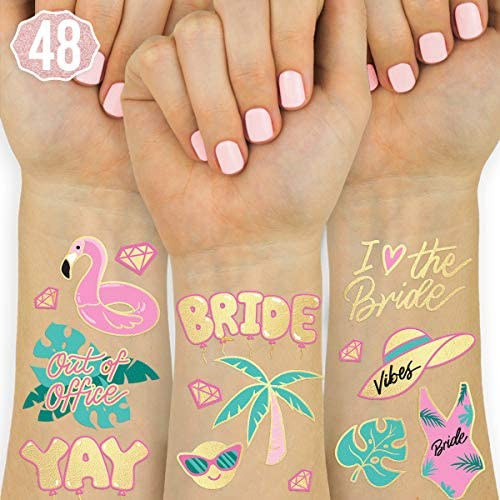 xo Fetti Bachelorette Pool Party Tattoos 48 Glitter Styles Bachelorette Party Decoration Bridesmaid product image