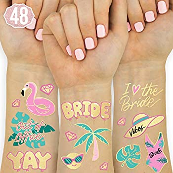 xo Fetti Bachelorette Pool Party Tattoos - 48 Glitter Styles | Bachelorette Party Decoration Bridesmaid Favor Bride to Be Gift + Bridal Shower Supplies