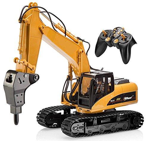 Top Race Excavadora de taladro RC profesional de 16 canales, construcción a control remoto, tractor, taladro de metal. TR-218