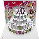 FOREVER 70 Geburtstag Pop Up 3D Laser Karte Gutschein Torte