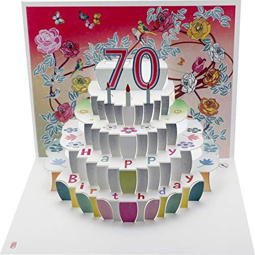 Forever 70 Geburtstag Pop Up 3D Laser Karte Gutschein Torte 16x11cm