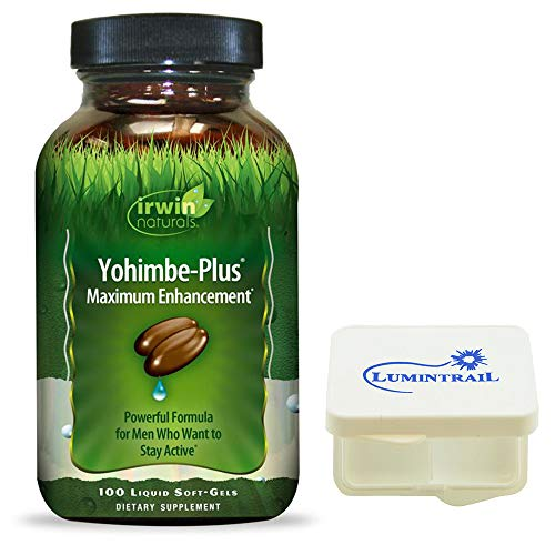 Irwin Naturals Yohimbe-Plus Maximum Enhancement for Men, Boost Vitality 100-Liquid Softgels Bundle with a Lumintrail Pill Case