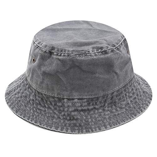 ZHENQIUFA Sombrero Pescador Gorras Vintage Wash Denim Bucket Hat Mujeres Hombres Street Fishing Sombreros Fisherman Caps Hip Hop Panama Sun Hat-Grey