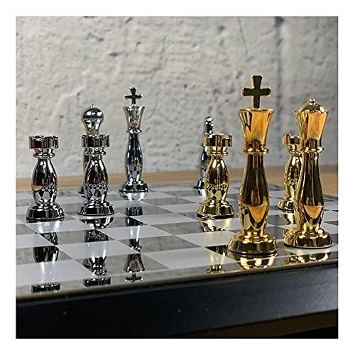 MASHUANG Clásico Ajedrez Refinado con Estuche de Almacenamiento de Madera, tableros de ajedrez metálica y Piezas de ajedrez, Juego de Borad Intelectual, Regalo para Amigos y Familiares Tradicional