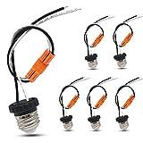 E26 Socket Adapter, Medium Base Screw In Light Bulb Socket Pigtail for Led Ceiling Lights Downlight Retrofit Power Adapter Black (6 Pack)