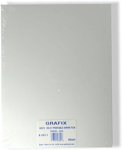 """Grafix Ink-Jet Printable Shrink Film – White, 8.5 x 11"""", Pack of 50 – Printable Shrink Sheets, Design Your Art, Print..."""